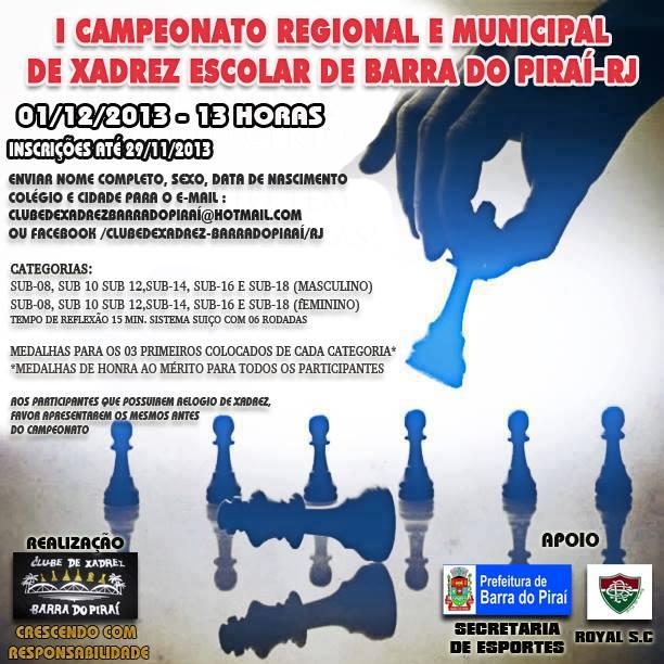 FOLDER I TORNEIO REGIONAL DE XADREZ BARRA DO PIRAI